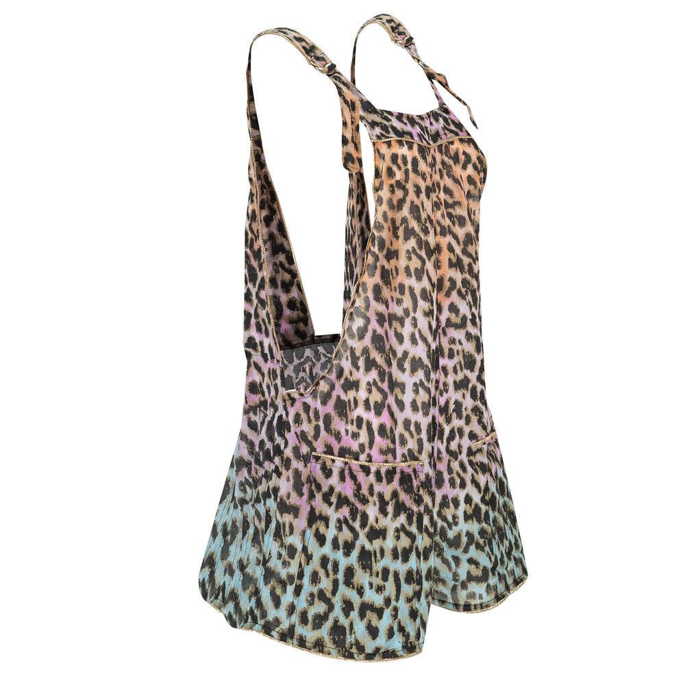Tie Dye Leopard Print Dungareenies