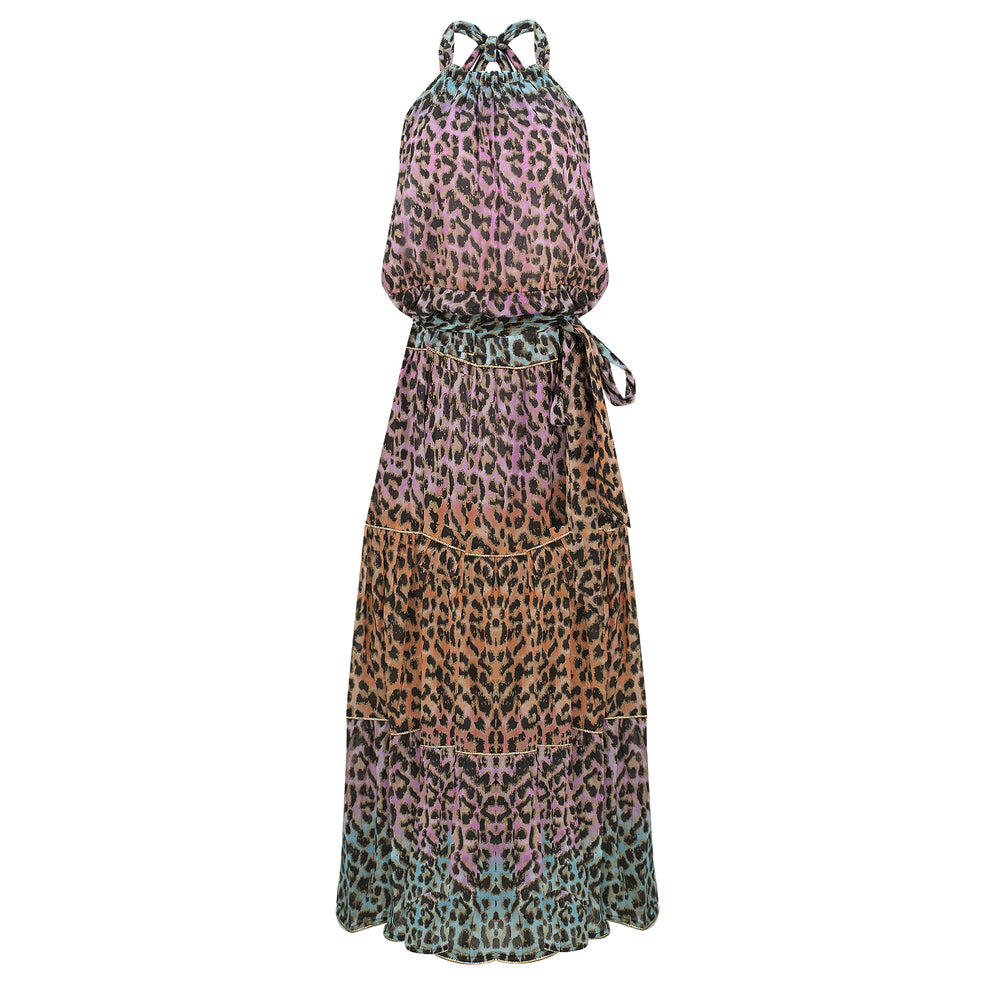 Tie Dye Leopard Print Halter Neck Maxi dress