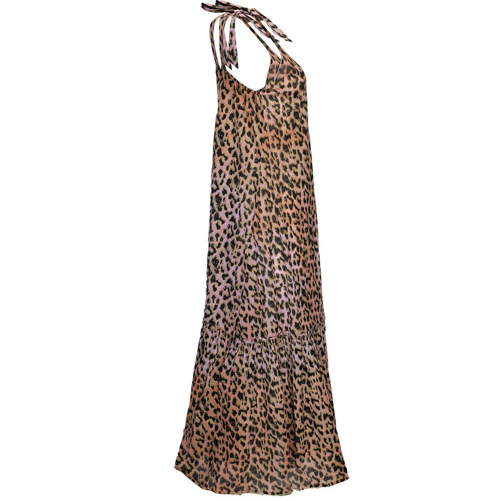 Tie Dye Leopard Print V-Front Maxi Dress W/Lurex