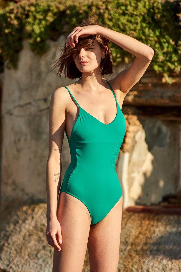 Just Emerald V-shape Swimsuit