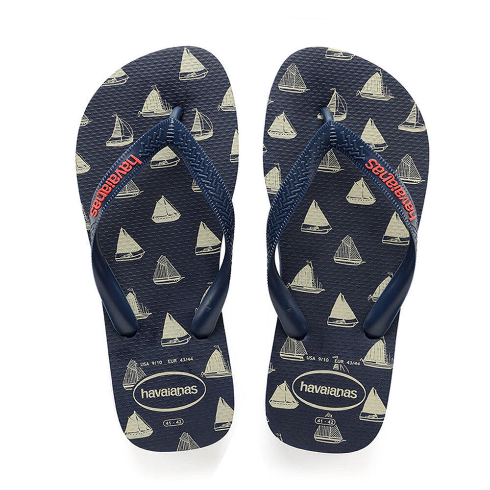 Kids Top Nautical Flip Flops Navy Blue