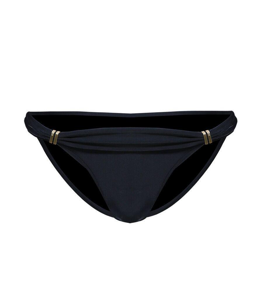 Solid Bia Black Full Cut Bikini Bottom
