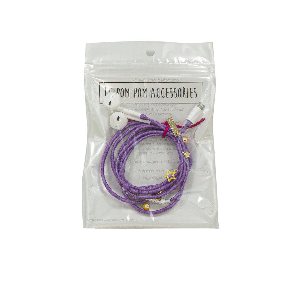 Lilac Earphones With Charms