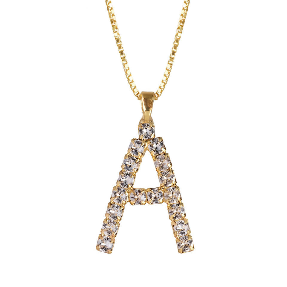 Letter Necklace Crystal A