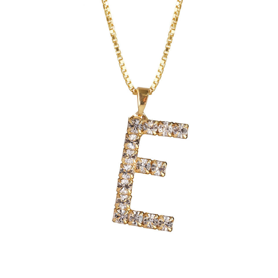 Letter Necklace Crystal E