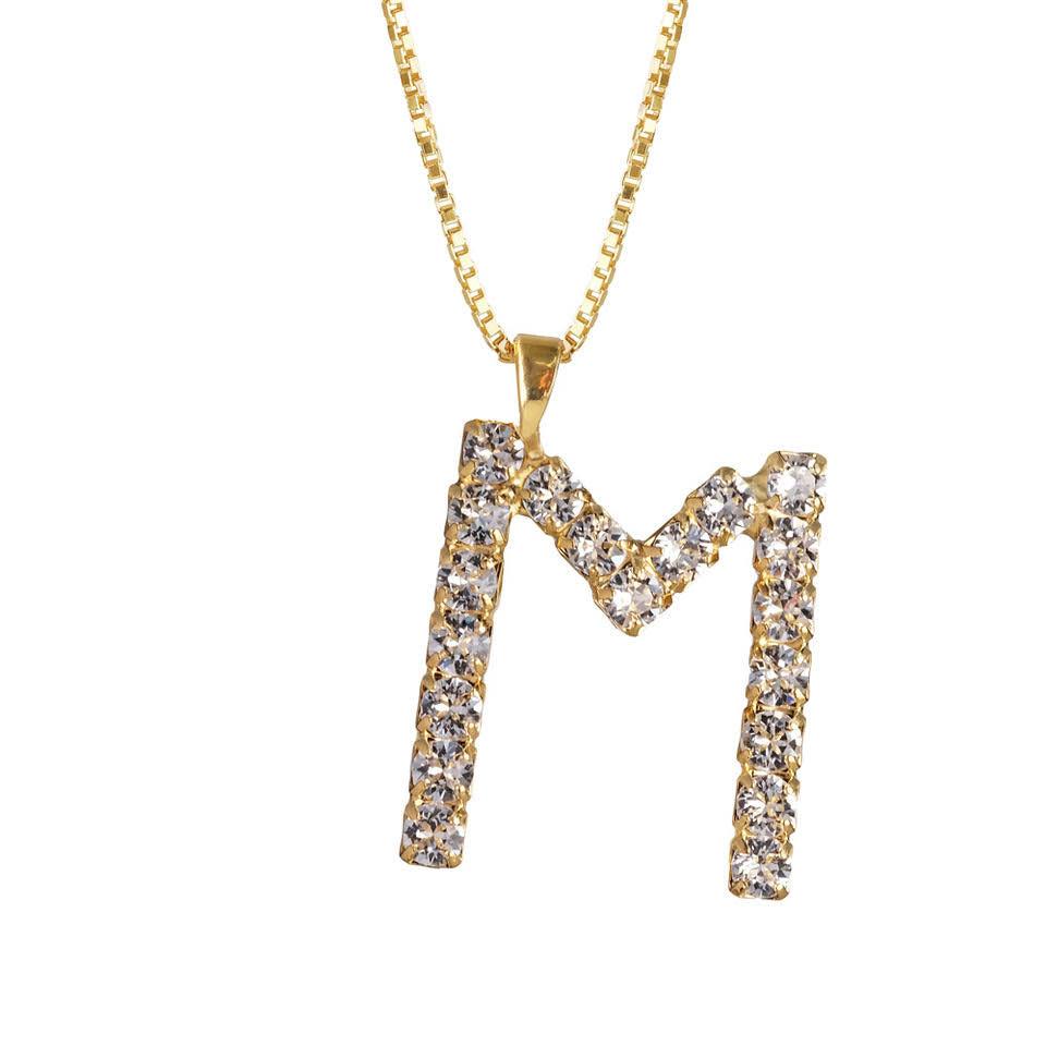 Letter Necklace Crystal M