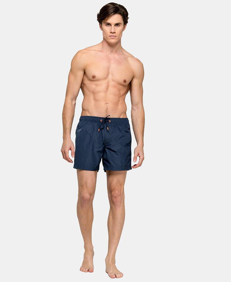 Men Elastic Waist Swim Trunk Navy