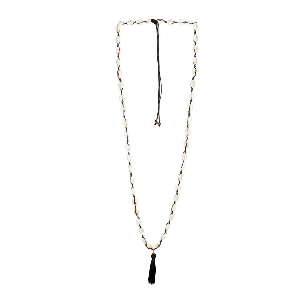 Shell Long Necklace Black