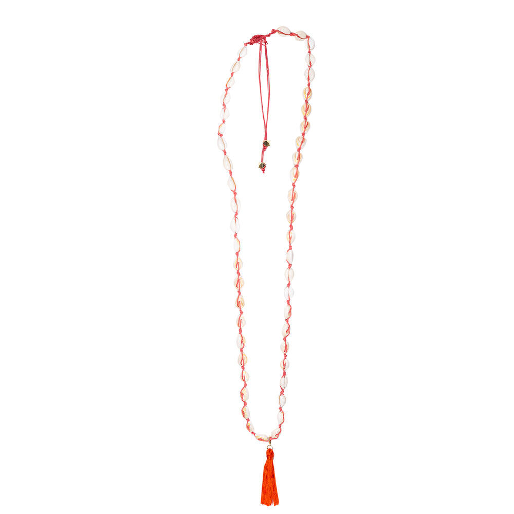 Shell Long Necklace Red