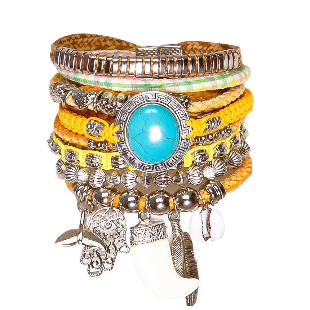 Silver Set Turquoise Tusk Barcelet