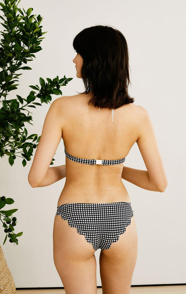 Broadway Bikini Bottom Midi Black Gingham