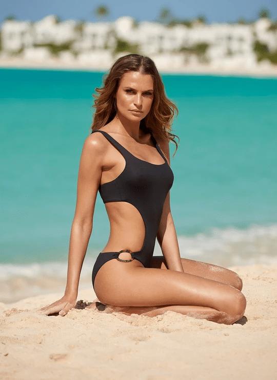 Geneva Cut Out Swimsuit Black