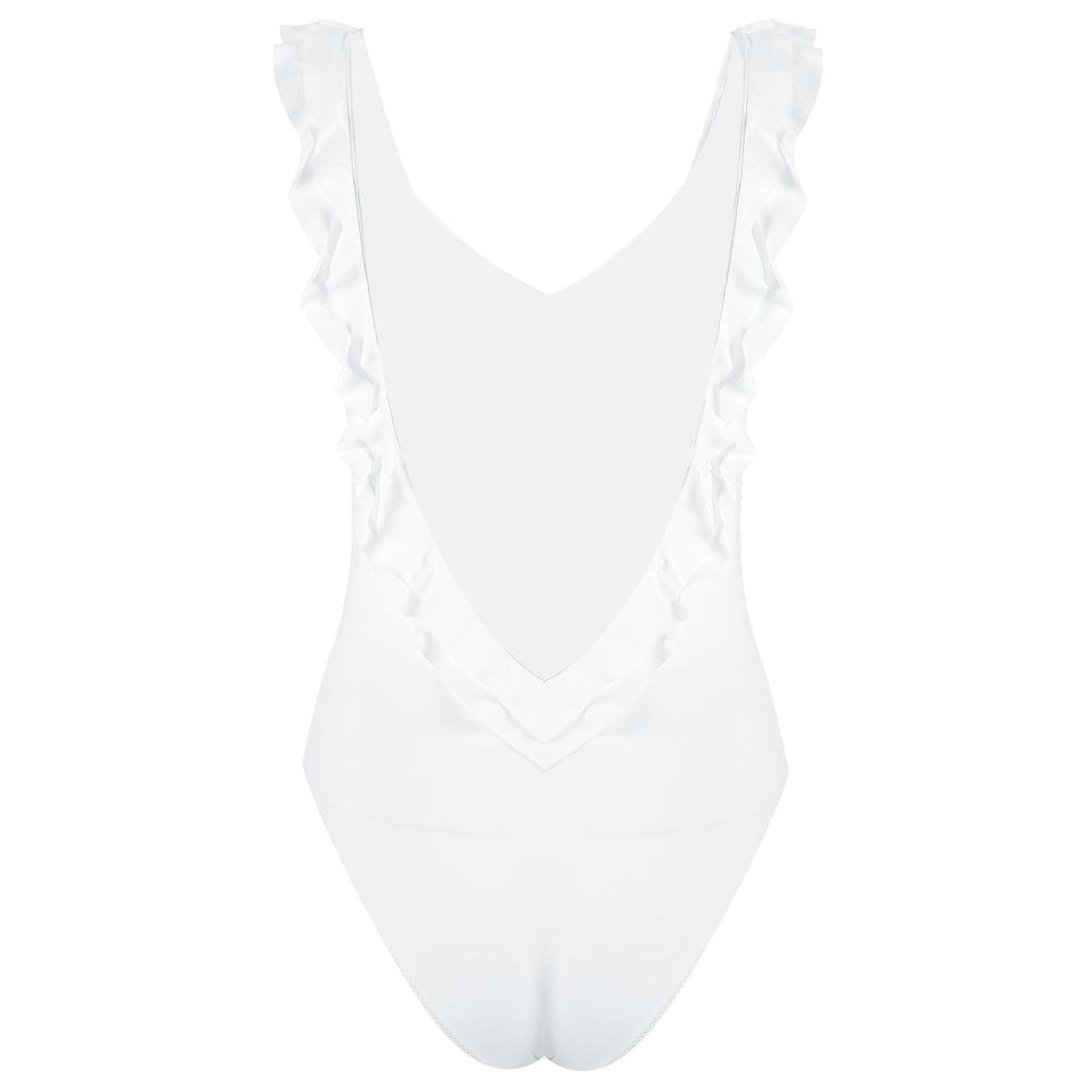Seville Frill Swimsuit White