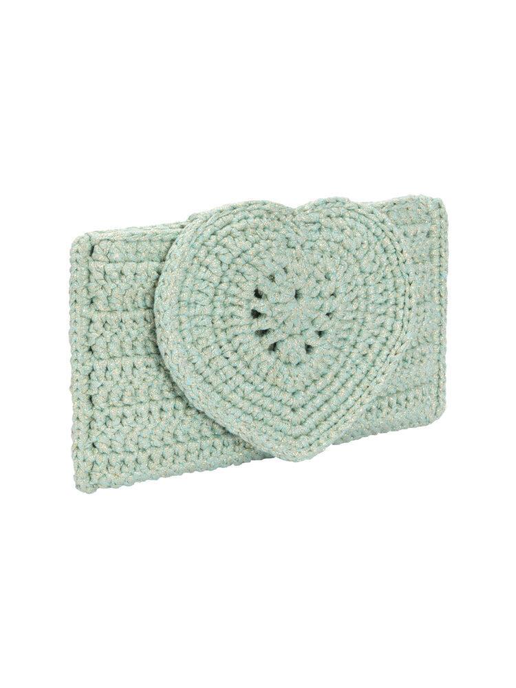 Heart Handle Clutch Bag Mint