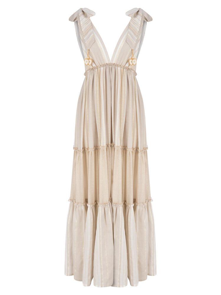 Maxi Dress Stripe Tan