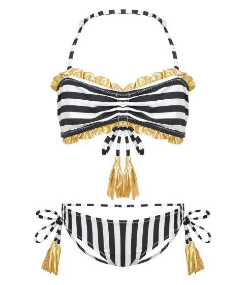 Nessi Byrd Marigold Black & White Stripe Bikini