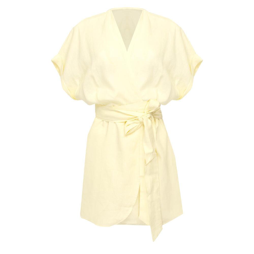 Patina Wrap Dress Butter Almond