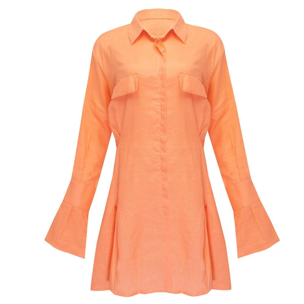 Mila Shirt Dress Bright Orange