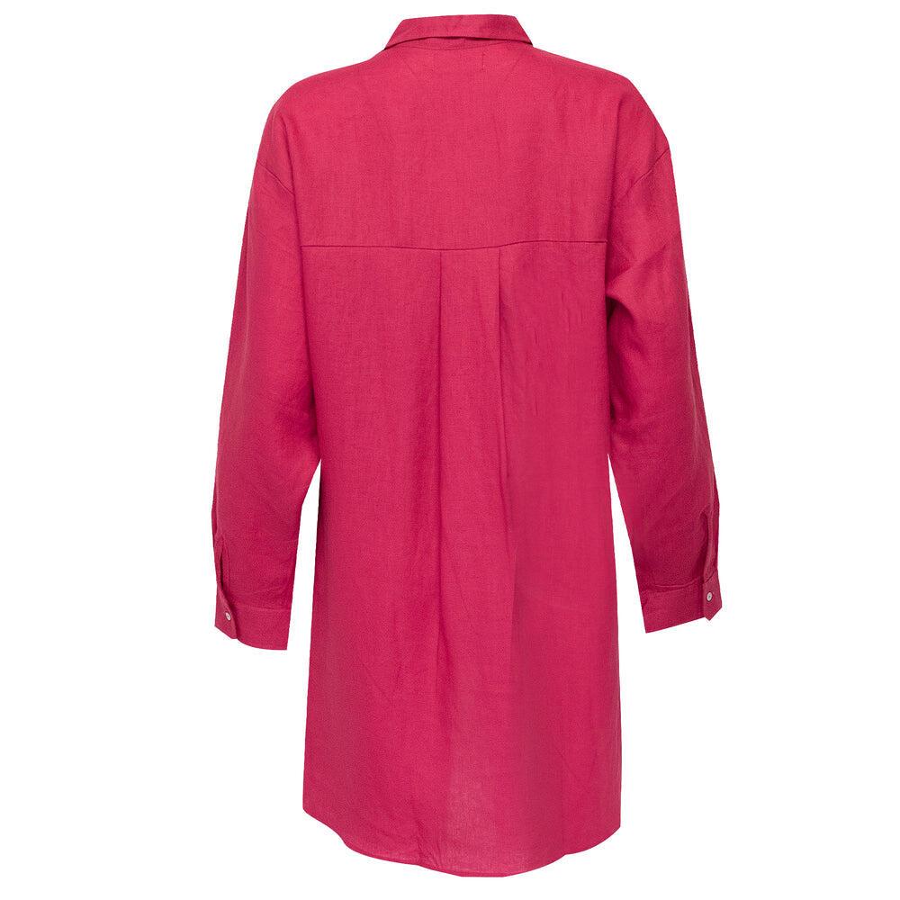 Shelly Beach Shirt Dress Cranberry Dark Pink