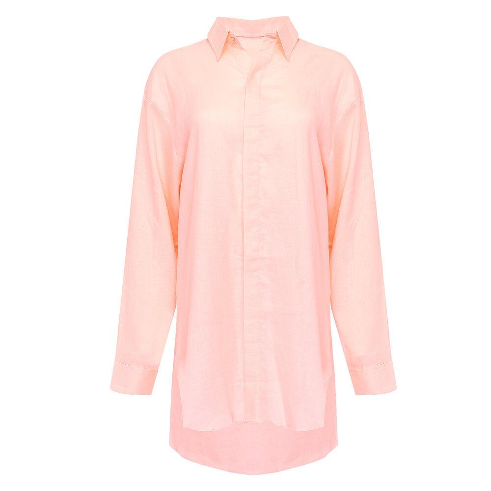 Shelly Beach Shirt Dress Pale Pink