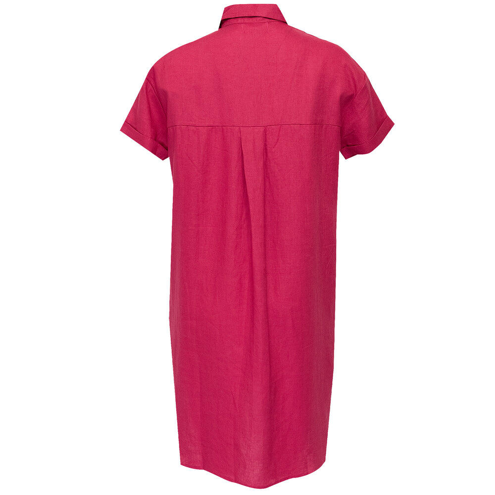 Sun Shirt Dress Long Cranberry Dark Pink
