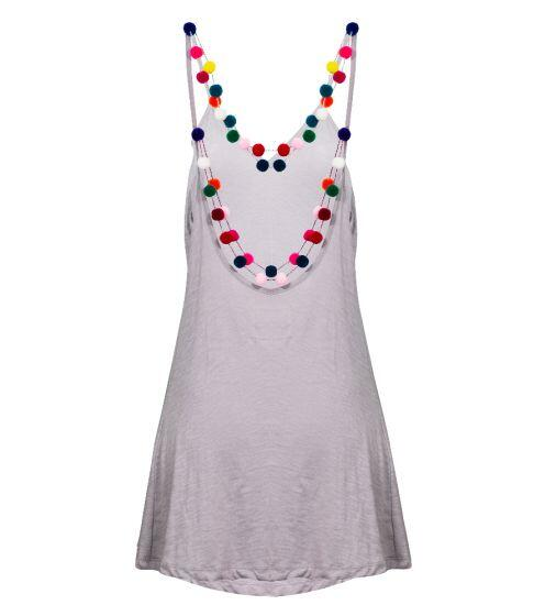 Pitusa Mini Pom Pom Necklace Dress Grey