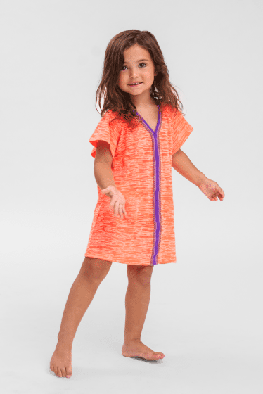 Kids Beach Cover Up in Coral