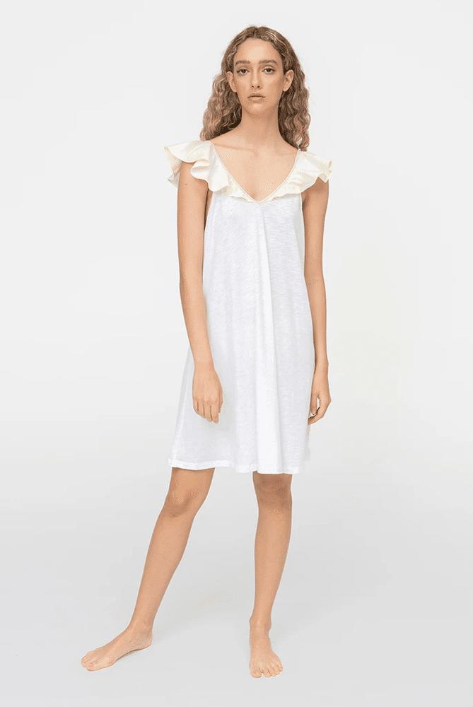 Mini Ruffle Tank Dress White