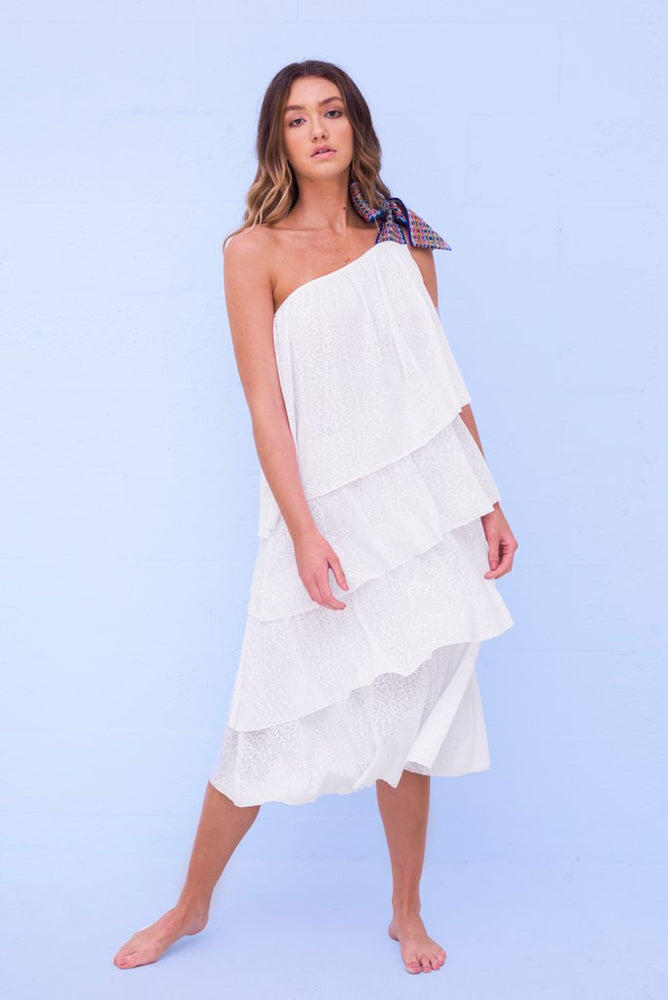 One Shoulder Bow Dress White