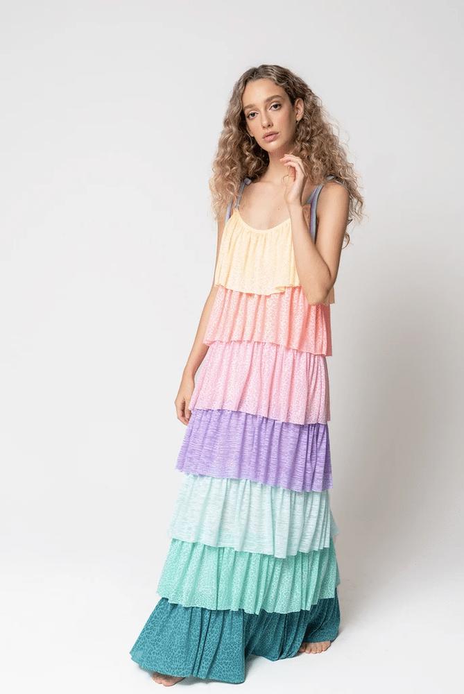 Rainbow Tiered Dress Pastel Rainbow