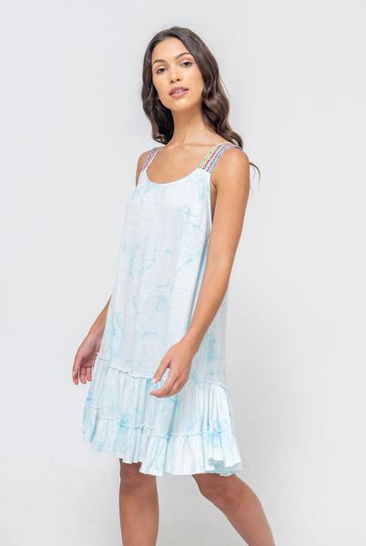 Tie Dye Gathered Mini Dress Light Blue