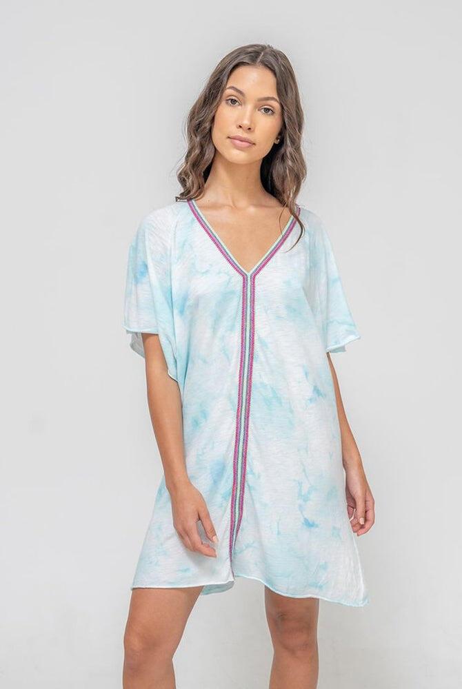 Tie Dye Inca Mini Abaya Light Blue