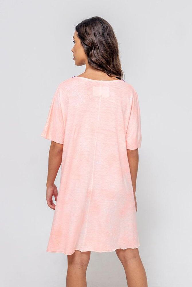 Tie Dye V Neck Dress Coral