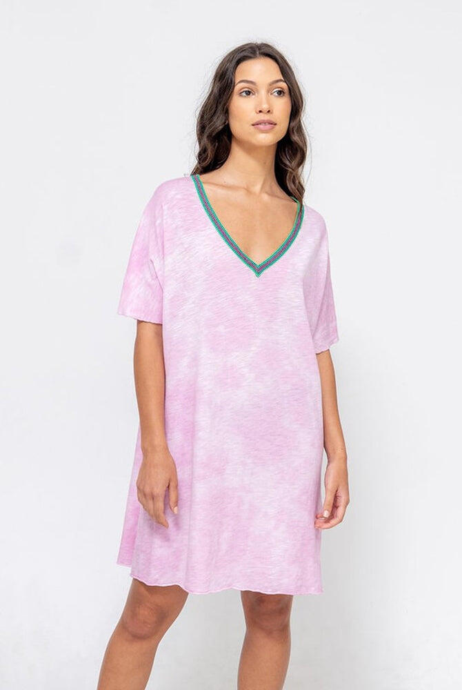 Tie Dye V Neck Dress Mauve