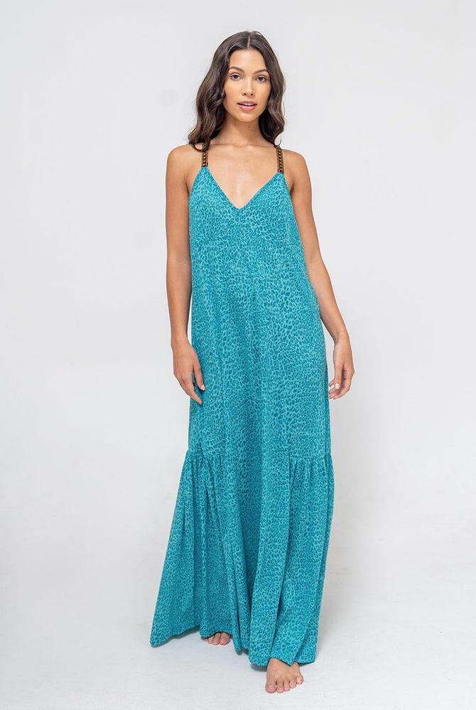 V-Back Maxi Dress Teal