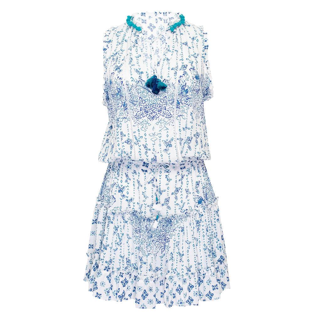 Mini Dress Clara Blue Parrot Batik Rombo