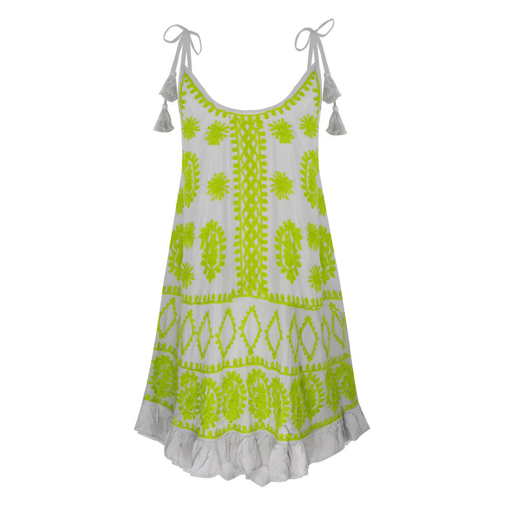 Millie Slip Dress Curved Hem Grey Lime