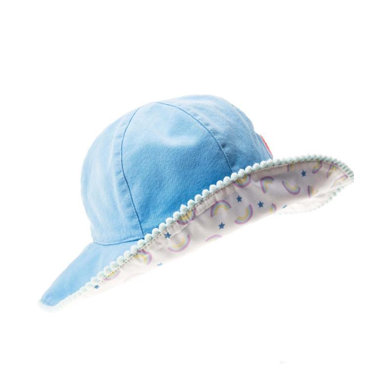 Pom Pom Floppy Sun Hat Blue