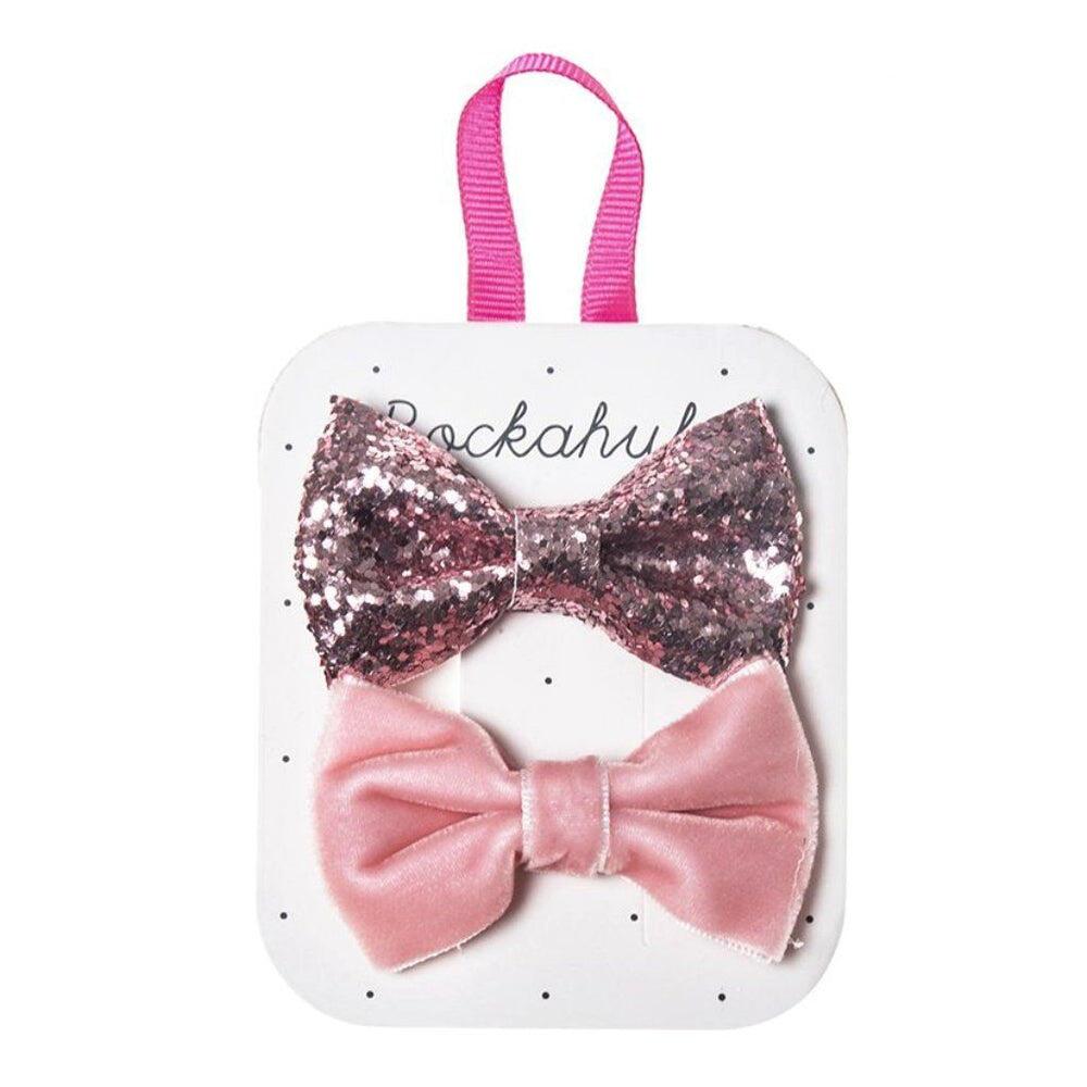 Rockahula Velvet & Glitter Bow Clip Set Pink