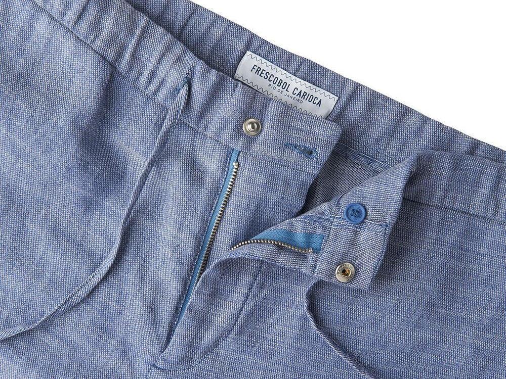 Melange Navy Linen Shorts