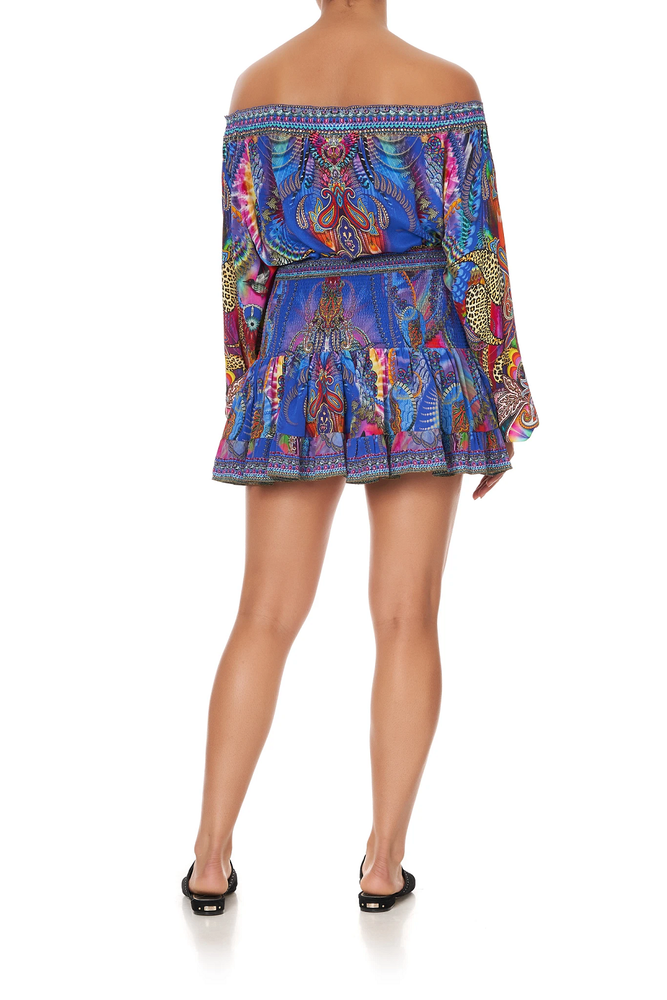 Neck Tie Gathered Blouse Psychedelica
