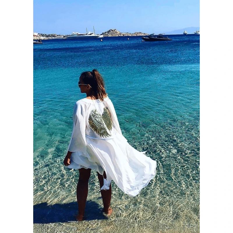 White Kimono with Angel Wings
