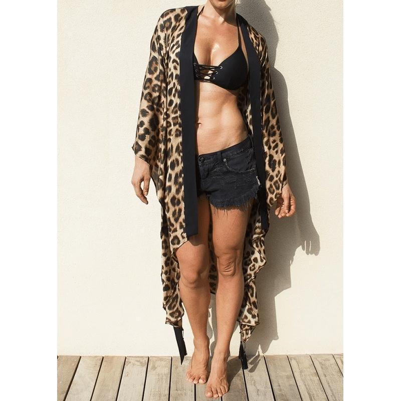 Leopard Print Kimono With Black Trim