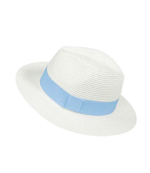 Panama Hat White with Light Blue Band