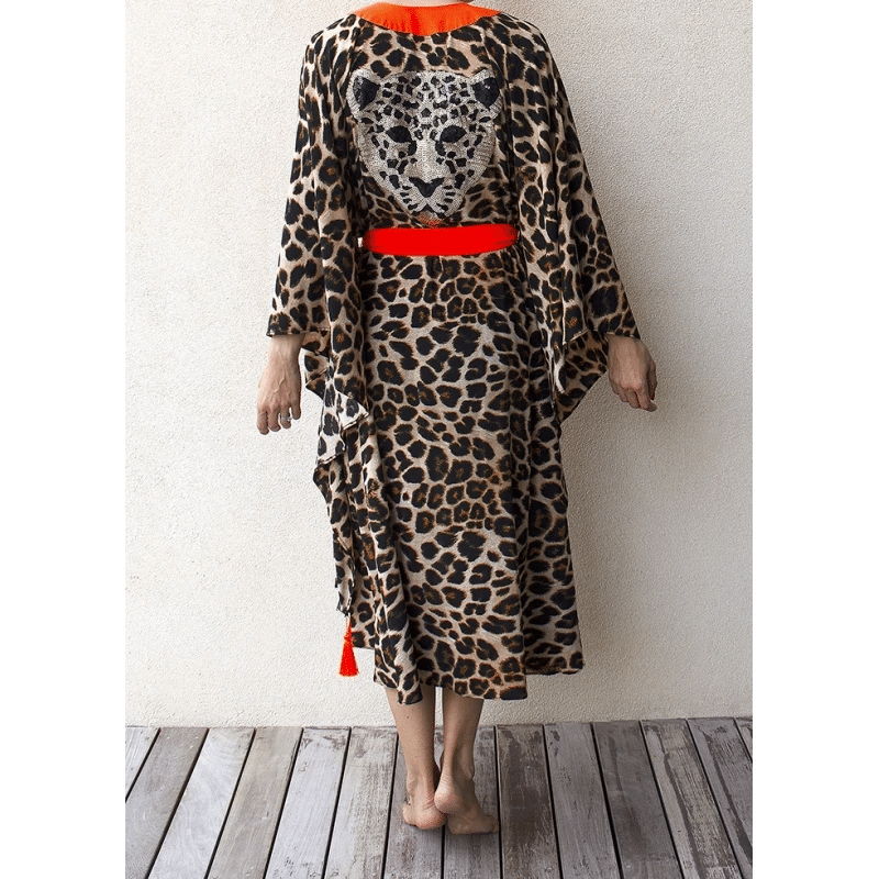 Animal Print Tunic With Orange Trim