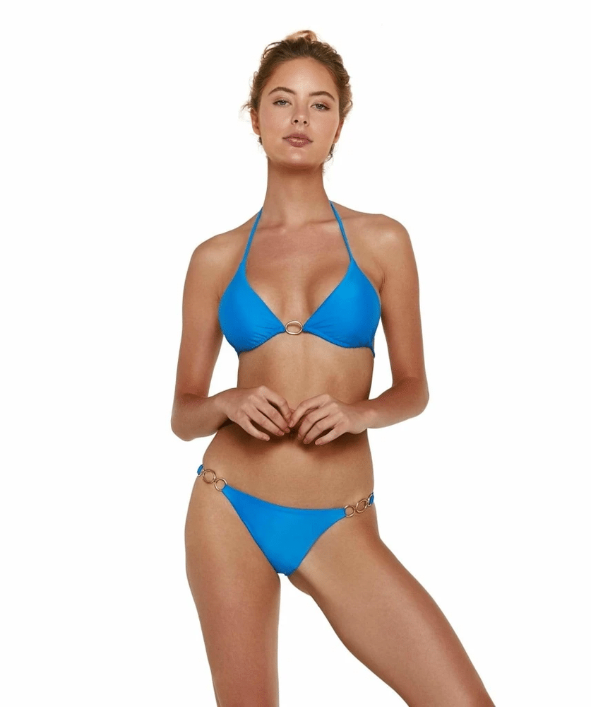 Solid Amalfi Triangle Bikini Top Blue