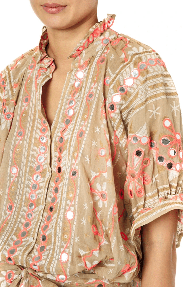 Nomad Print Blouson Dress Sand/Coral
