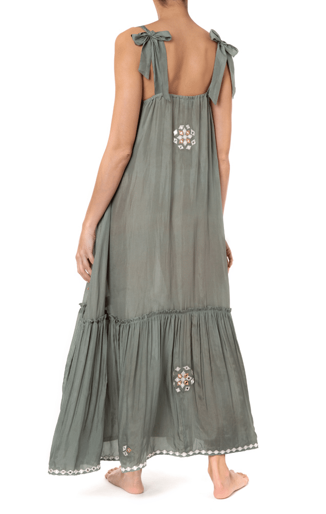 V-Neck Maxi Dress With Mirror Embro Khaki
