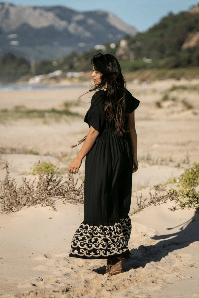 Embroidered Black Maxi Dress