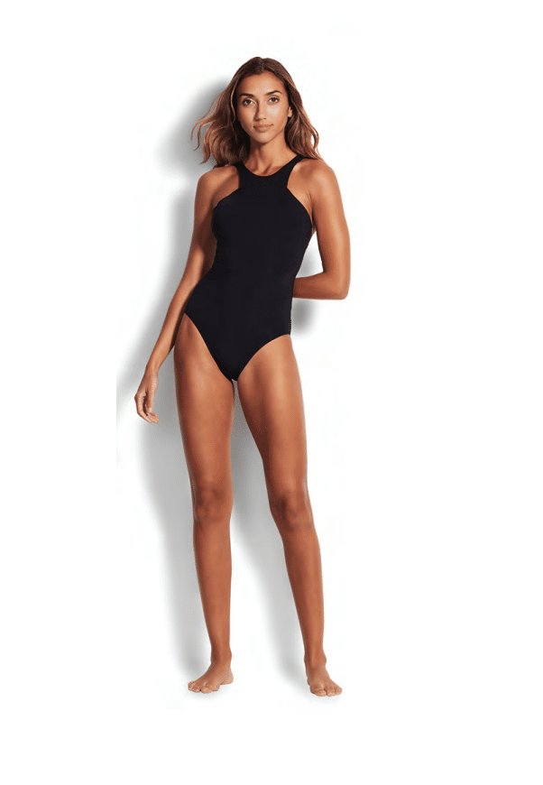 Black Active High Neck Maillot